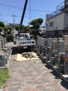 足代墓地(東大阪市)で工事