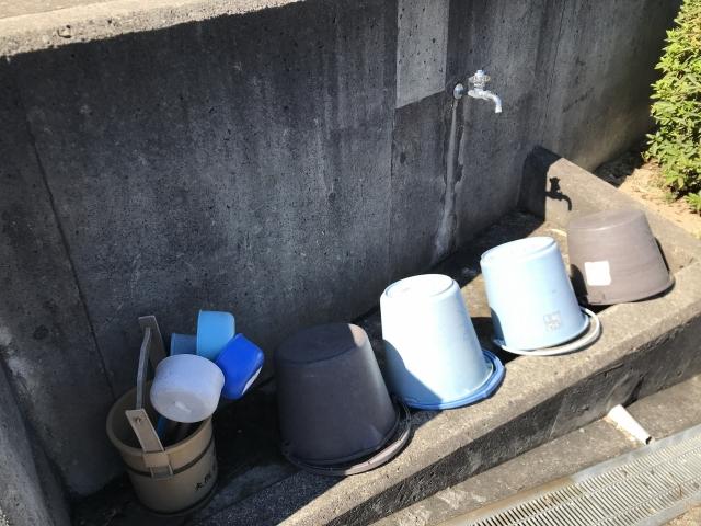 神戸市垂水区にある共同墓地 乙木墓地のお墓の水場
