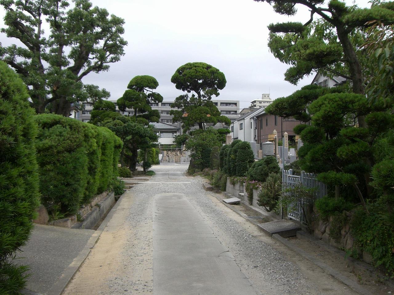 芦屋市にある歴史上由緒あるお寺 親王寺境内墓地の様子