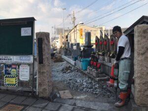 長田西河墓地にて、通路整備工事