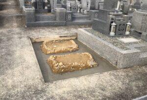 21.3.4_宝塚市営長尾山霊園にお墓の基礎工事の確認に来ました。