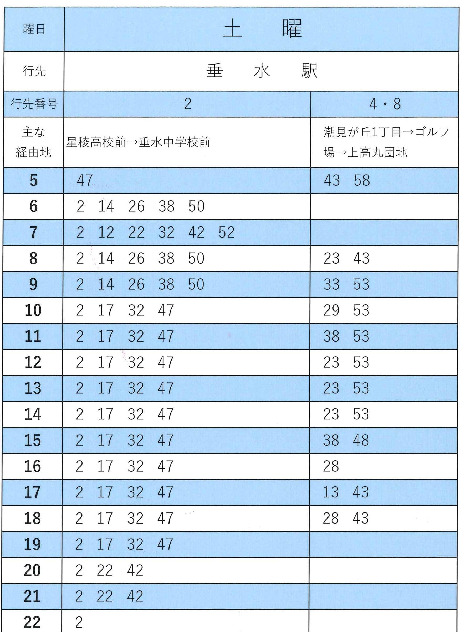 舞子墓園前(垂水駅方面)土曜の時刻表