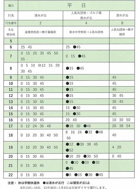 舞子墓園への行き方。JR垂水駅発2・4・8系統の時刻表(平日)